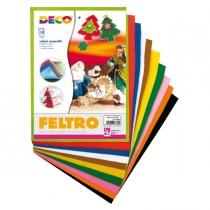 Feltro colorato 21x30cm colori assortiti Conf.10 fogli DECO