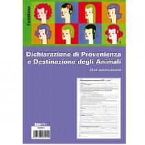 BLOCCO DICHIARAZ. PROV.-DEST. ANIMALI 25x4 copie AUTORIC. 30x22,5cm E5849A(17)