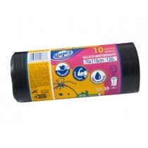 10 sacchi immondizia 43µ 70X110 120Lt nero Logex