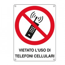 CARTELLO ALLUMINIO 16,6x23,3cm 'VIETATO L'USO DI TELEFONI CELLULARI'