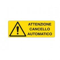 CARTELLO ALLUMINIO 35x12,5cm 'ATTENZIONE CANCELLO AUTOMATICO'