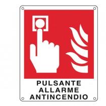 CARTELLO ALLUMINIO 12x14,5cm 'PULSANTE ALLARME ANTINCENDIO''