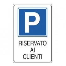 CARTELLO ALLUMINIO 20x30cm 'PARCHEGGIO RISERVATO AI CLIENTI''