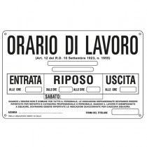 CARTELLO ALLUMINIO 30x20cm 'ORARIO DI LAVORO''