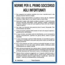 CARTELLO ALLUMINIO 33,3x47cm 'NORME DI PRIMO SOCCORSO AGLI INFORTUNATI''