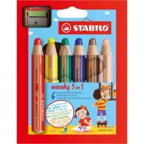 Astuccio 6 pastelli STABILO WOODY 3in1 _ TEMPERINO