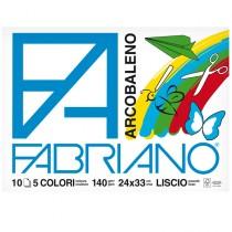 ALBUM ARCOBALENO (24X33CM) FG 10 140GR 5 COLORI FABRIANO