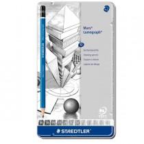 Astuccio metallo 12 matita grafite Mars Lumograph 12gradazioni Staedtler