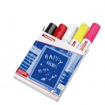 Astuccio 5 marcatori EDDING 4090 punta scalpello gesso liquido colori fluo-std