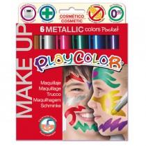 MAKE UP TEMPERA SOLIDA PLAYCOLOR ASTUCCIO CON 6 COLORI METALLIC