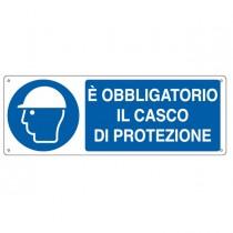 """CARTELLO ALLUMINIO 35x12,5cm 'E' obligatorio il casco di protezione"""""""