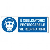 """CARTELLO ALLUMINIO 35x12,5cm 'E' obligatorio proteggere le vie respiratorie"""""""