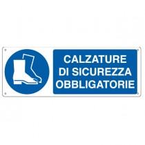 """CARTELLO ALLUMINIO 35x12,5cm 'Calzatura di sicurezza obbligatoria"""""""