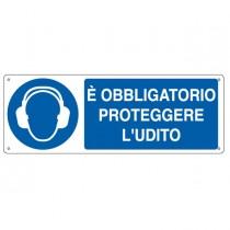 """CARTELLO ALLUMINIO 35x12,5cm 'E' obligatorio proteggere l'udito"""""""