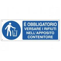 CARTELLO ALLUMINIO 35x12,5cm 'E' obbligatorio versare i rifiuti...'