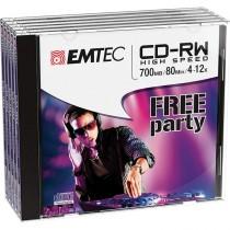 CD-RW EMTEC RW 80MIN-700MB 4-12x JEWEL CASE (kit 5pz)