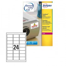 Poliestere adesivo extra L6141 bianco 20fg A4 63,5x33,9mm (24et-fg) laser Avery