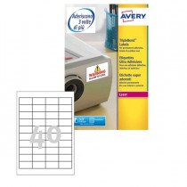 Poliestere adesivo extra L6140 bianco 20fg 45,7x25,4mm (40et-fg) laser Avery