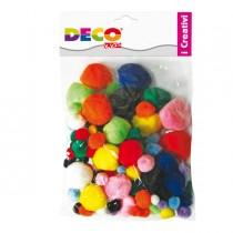 Pompons busta da 40pz colori assortiti DECO
