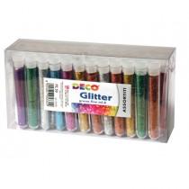 Glitter 50 flaconi grana fine 12ml colori assortiti DECO