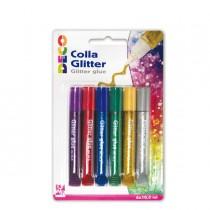 Blister colla glitter 6 penne 10,5ml colori assortiti metal DECO