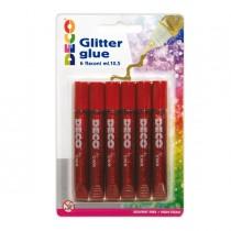 Blister colla glitter 6 penne 10,5ml rosso DECO