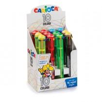 Display 12 penne a sfera automatica 10 Colori colori fluo assortiti Carioca