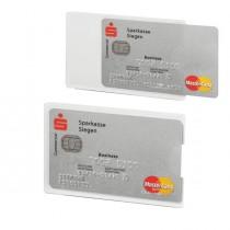 Tasca porta carte di credito argento trasp. 54x87mm RFID Secure Durable