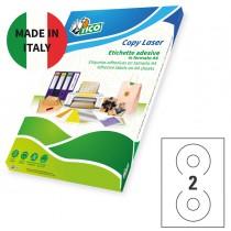 Etichetta adesiva LP4W bianca opaca A4 100fg CD Ø117mm (2et-fg) laser Tico