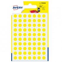 Blister 490 etichetta adesiva tonda PSA giallo Ø8mm Avery