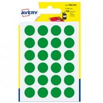Blister 168 etichetta adesiva tonda PSA verde Ø15mm Avery