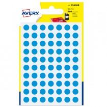 Blister 490 etichetta adesiva tonda PSA blu Ø8mm Avery