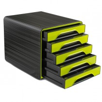 Cassettiera 5 cassetti standard nero-verde anice 7-111 Smoove Cep