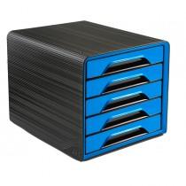 Cassettiera 5 cassetti standard nero-blu oceano 7-111 Smoove Cep