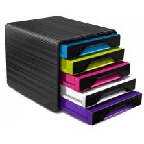 Cassettiera 5 cassetti standard nero-multicolori 7-111 Smoove Cep