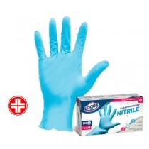 Scatola 100 guanti in nitrile non talcato tg. M-L azzurro uso medicale