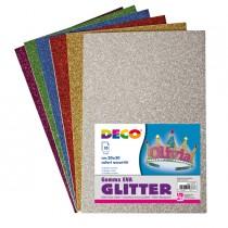 Busta 10 fogli Gomma Crepp Glitter 20x30cm colori assortiti DECO