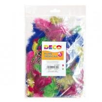 Busta 100 piume tropicali dim. 50-100mm in colori assortiti DECO
