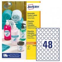 Etichette adesive rotonde rimovibili Ø25mm (48et-fg) 25fg laser-inkjet Avery