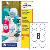 Etichette adesive rotonde rimovibili Ø63,5mm (8et-fg) 25fg laser-inkjet Avery