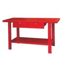 Tavolo da lavoro in metallo con 2 cassetti rosso 1500x640xh865mm