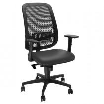 Sedia operativa Equity schienale PP e seduta similpelle nera c-bracc.