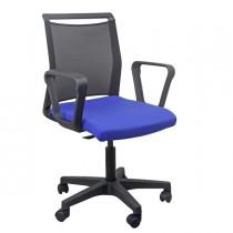Sedia home-office Smart Light schienale in rete nero seduta blu c-braccioli
