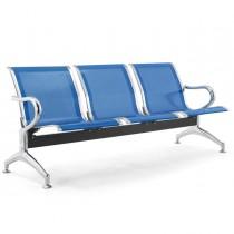 Panca attesa a 3 posti in acciaio Blu
