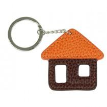 Portachiave Casa in vera pelle marrone-arancione Laurige France