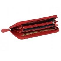 Portafogli Frenchy donna 19x10cm vera pelle rosso Laurige France