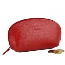 Portamonete c-zip 12x6,5cm vera pelle rosso Laurige France