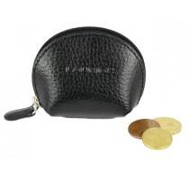 Portamonete mini c-zip 8x5,5cm vera pelle nero Laurige France