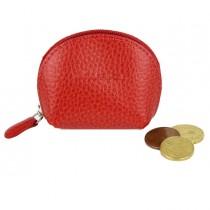 Portamonete mini c-zip 8x5,5cm vera pelle rosso Laurige France