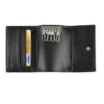 Portachiavi e carte 11x7,5cm vera pelle nero Laurige France